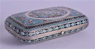 AN ANTIQUE RUSSIAN SILVER AND ENAMEL CIGARETTE CASE