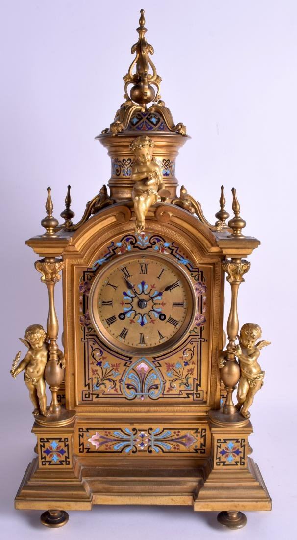 A LARGE 19TH CENTURY FRENCH ORMOLU AND CHAMPLEVE ENAMEL
