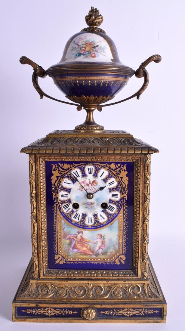 A LARGE 19TH CENTURY FRENCH GILT BRONZE AND SEVRES