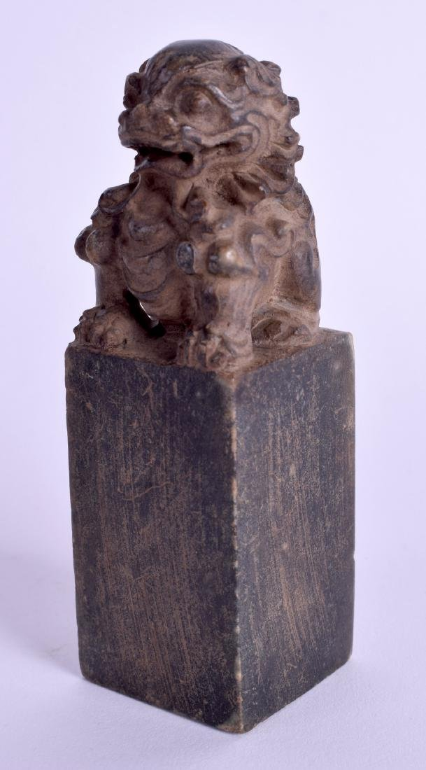A CHINESE CARVED SOAPSTONE SEAL. 9 cm high.