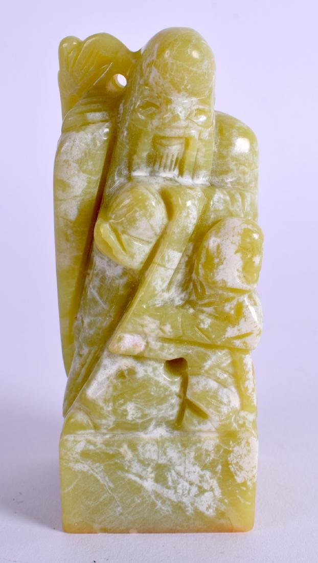 A CHINESE SOAPSTONE SEAL. 9.5 cm x 3.5 cm.