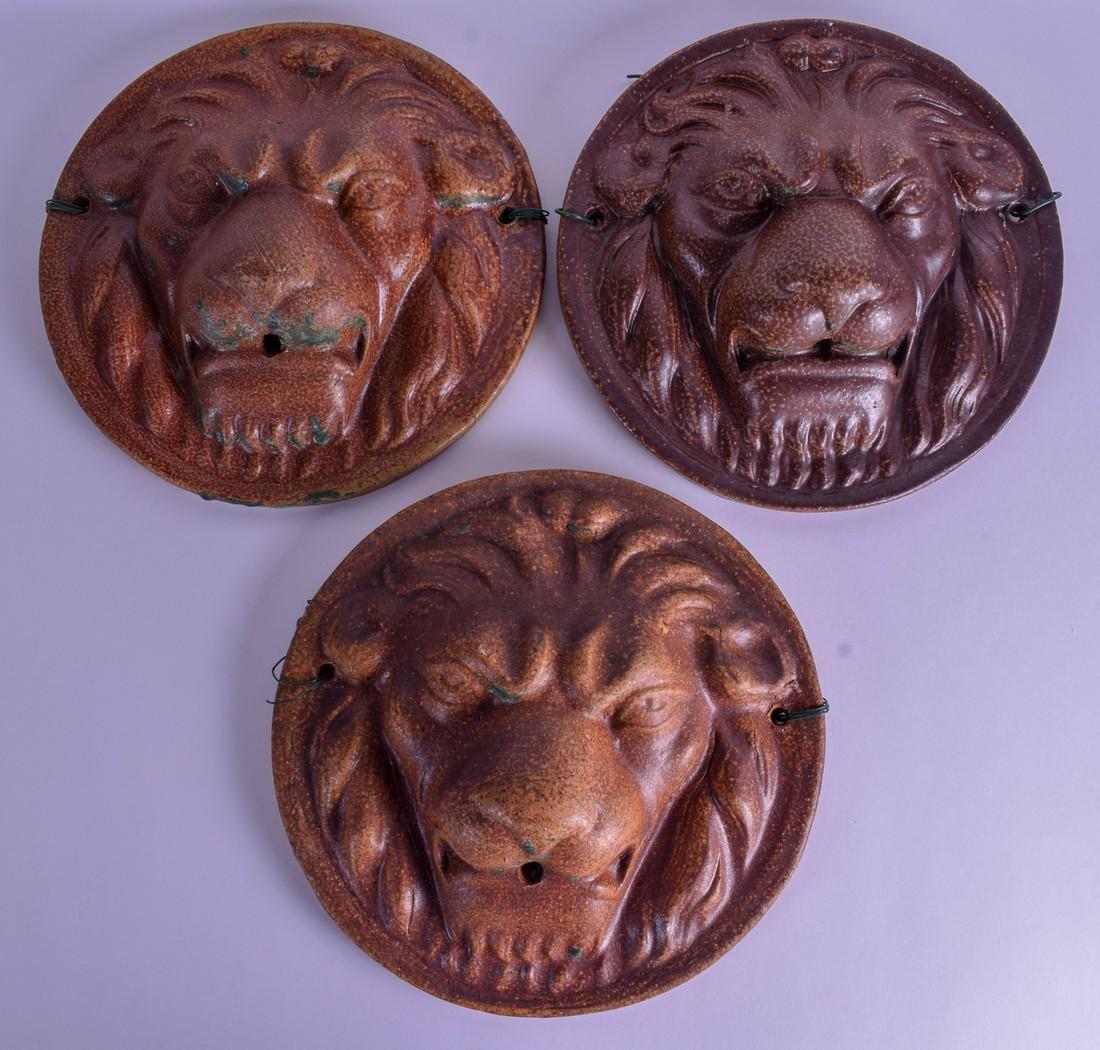 A SET OF 19TH CENTURY ENGLISH STONEWARE LION WALL