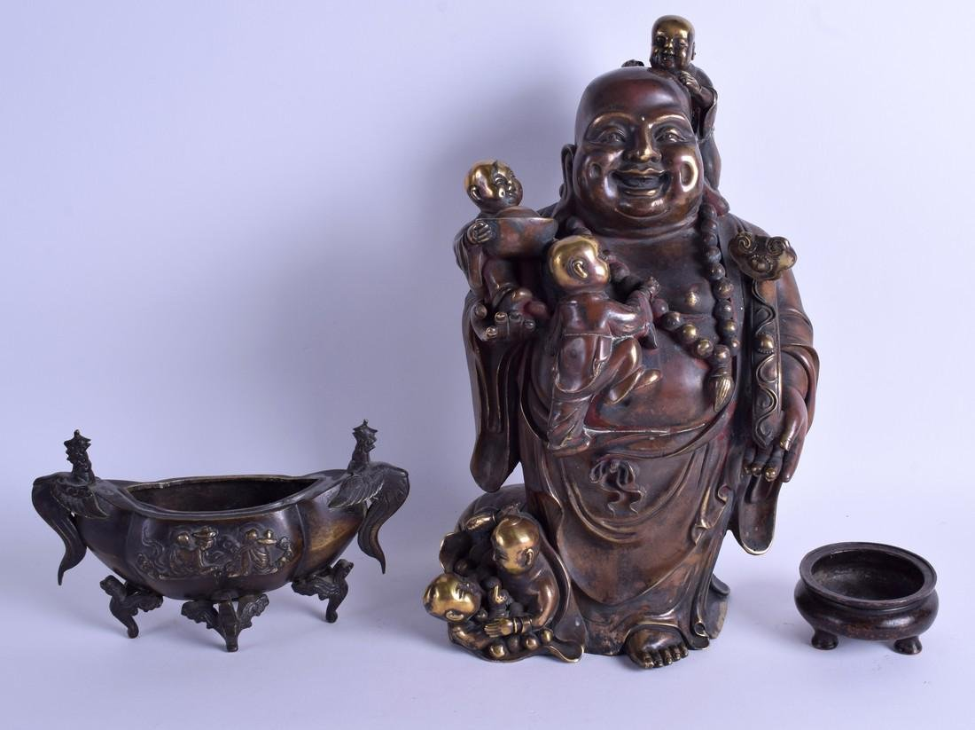 A LARGE CHINESE BRONZE FIGURE OF A BUDDHA 20th Century,