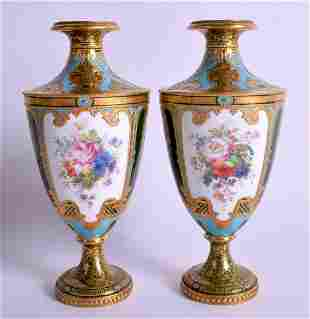 A FINE PAIR OF ROYAL CROWN DERBY JEWELLED PORCELAIN