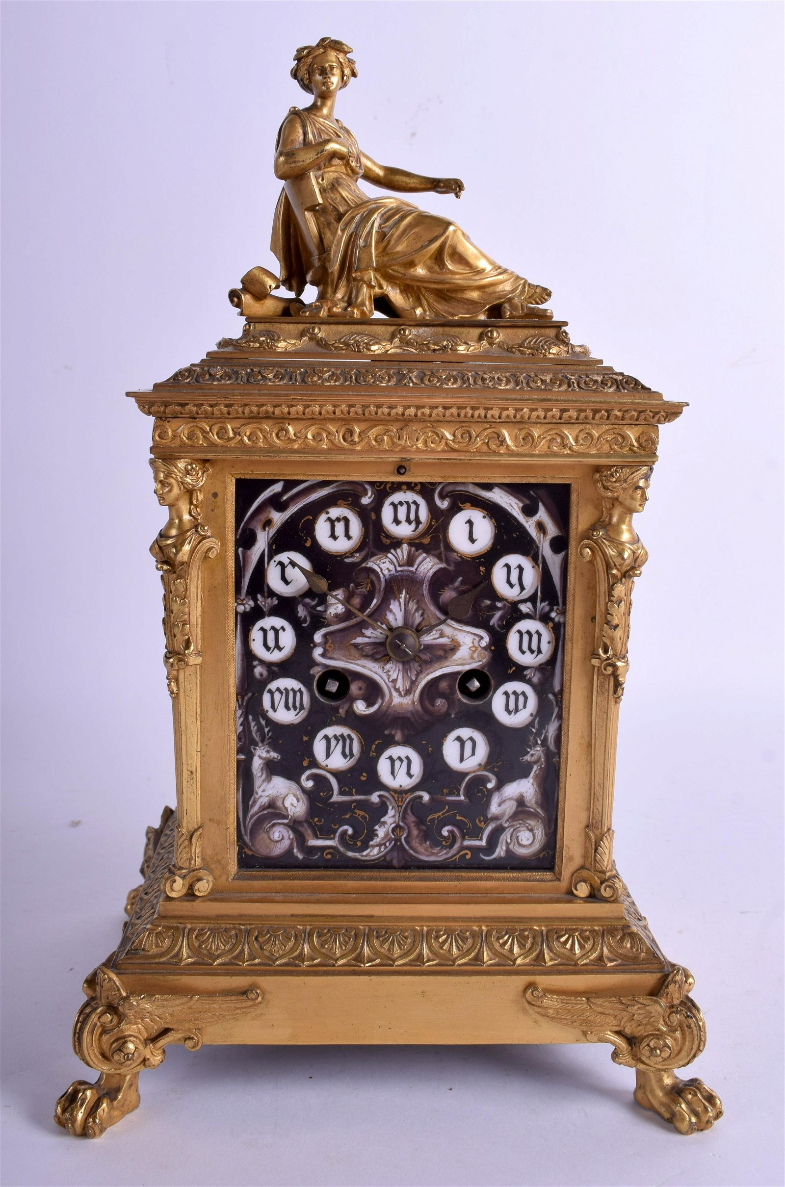 A MID 19TH CENTURY FRENCH ORMOLU AND LIMOGES ENAMEL