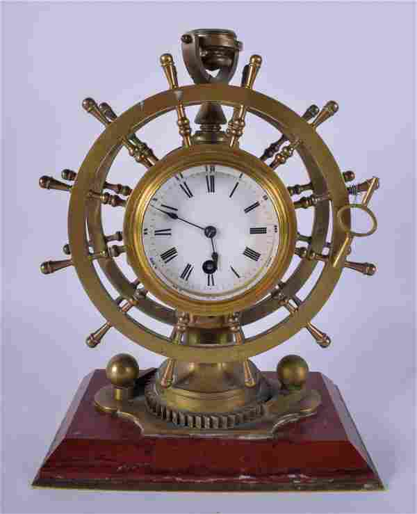 A RARE 19TH CENTURY FRENCH INDUSTRIAL SHIPS WHEEL