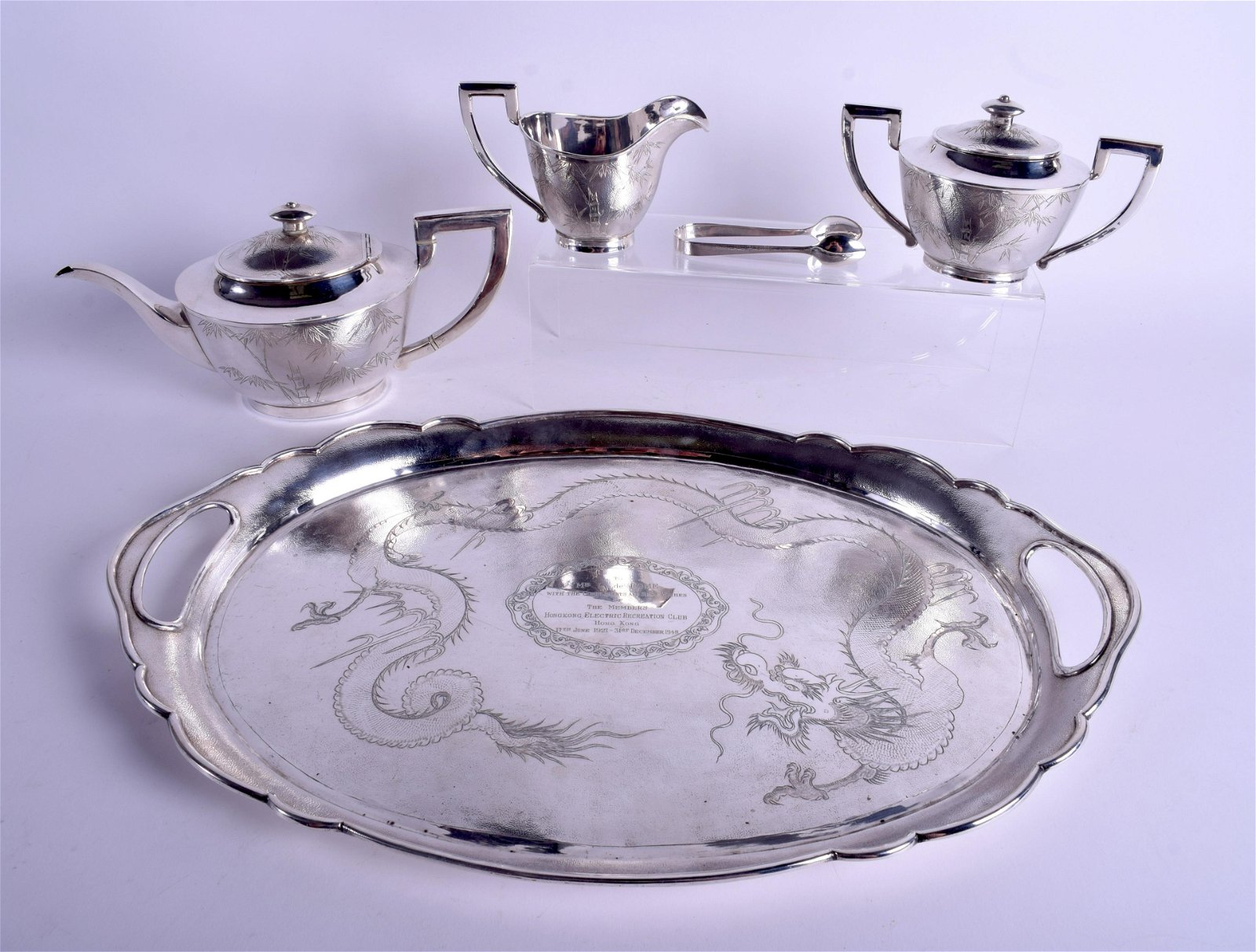 A GOOD LATE 19TH CENTURY CHINESE THREE PIECE SILVER