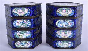 A RARE PAIR OF 19TH CENTURY CHINESE CANTON ENAMEL BOXES