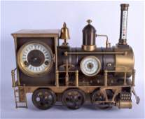 A LARGE UNUSUAL BRONZE INDUSTRIAL LOCOMOTIVE CLOCK with