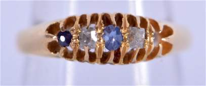 AN ANTIQUE 18CT GOLD DIAMOND AND SAPPHIRE RING 28