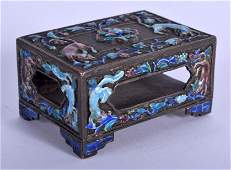 A VINTAGE CHINESE ENAMELLED MATCHBOX HOLDER. 6 cm x 5