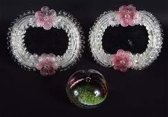 A PAIR OF VINTAGE VENETIAN GLASS STRUT MIRRORS together