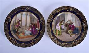 A PAIR OF ANTIQUE ROYAL VIENNA PORCELAIN CABINET PLATES