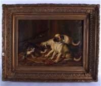 A LARGE 19TH CENTURY EUROPEAN OIL ON CANVAS Hounds