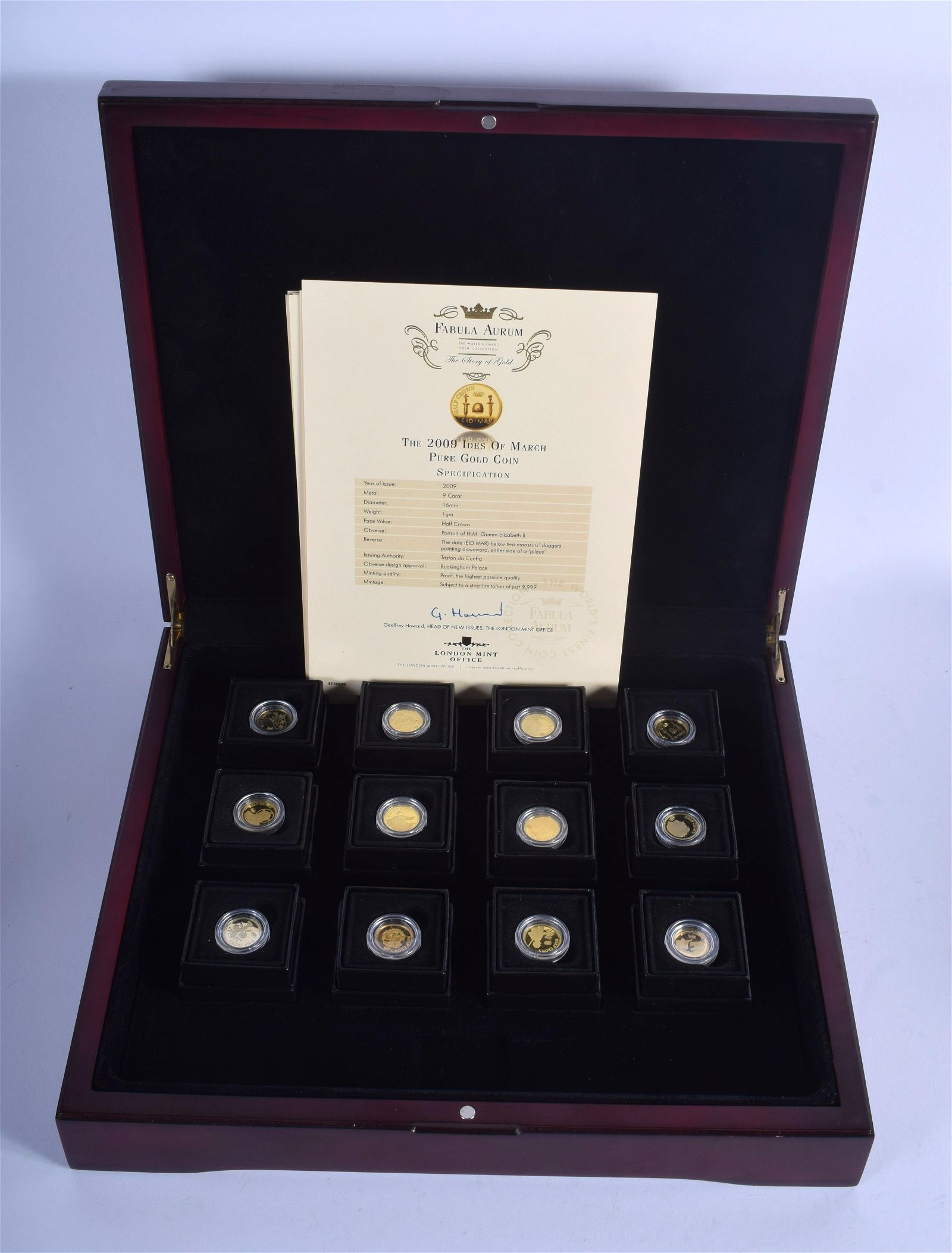 A CASED SET OF TWELVE 9CT GOLD PROOF COINS. 12 grams.