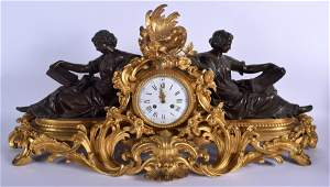 A LARGE MID 19TH CENTURY FRENCH ORMOLU AND BRONZE