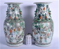 A FINE LARGE PAIR OF 19TH CENTURY CHINESE FAMILLE VERTE
