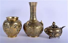 THREE 19TH CENTURY CHINESE POLISHED BRONZE SCHOLARS