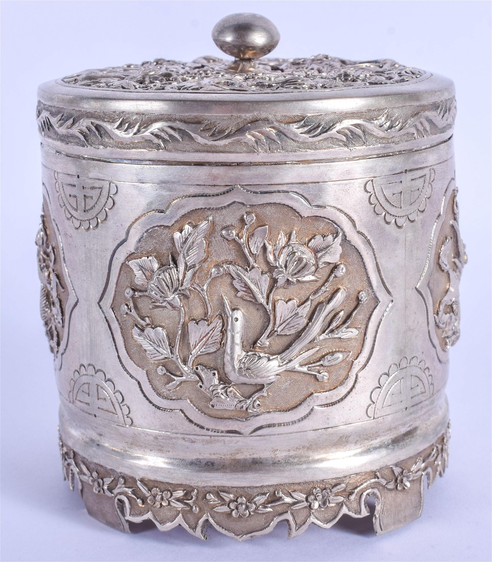 AN EARLY 20TH CENTURY CHINESE STRAITS SILVER CENSER AND