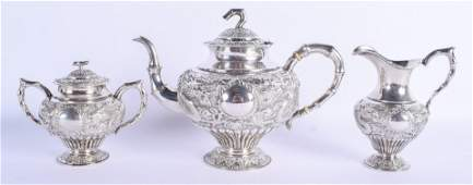 A 19TH CENTURY CHINESE EXPORT SILVER THREE PIECE TEASET
