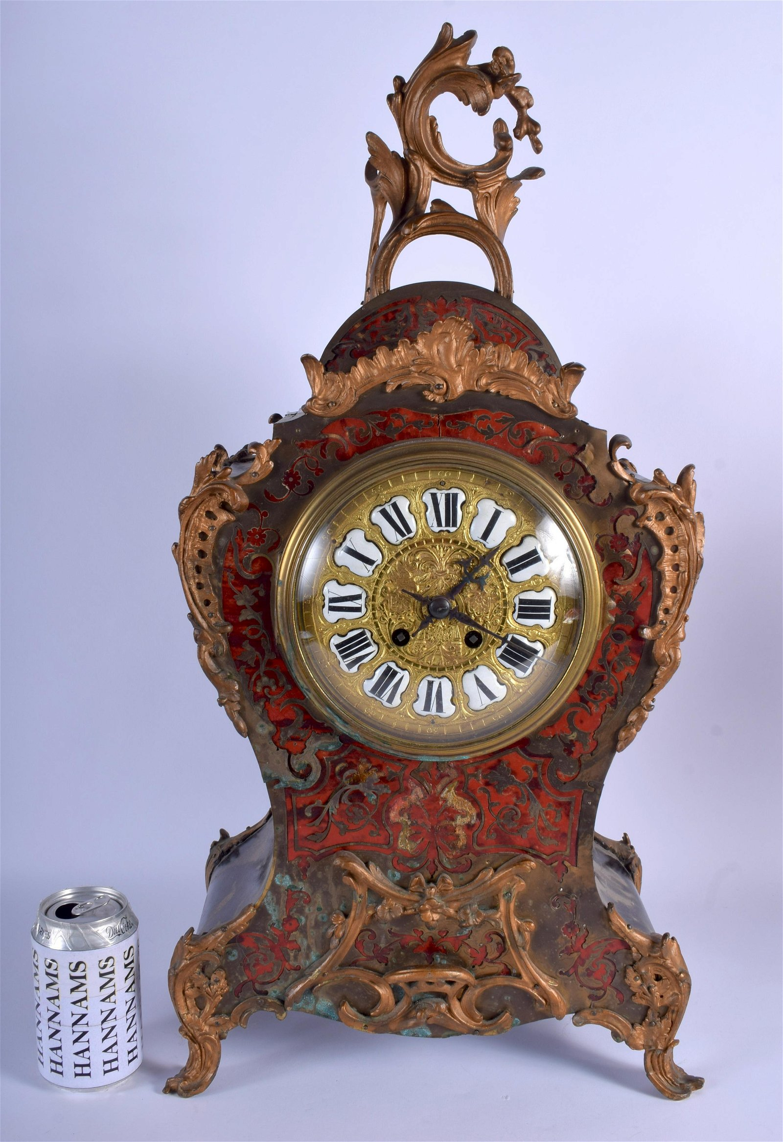 A LARGE ANTIQUE FRENCH BOULLE Shell MANTEL CLOCK