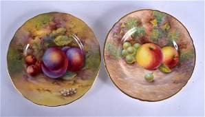 A NEAR PAIR OF ROYAL WORCESTER FRUIT PAINTED PORCELAIN