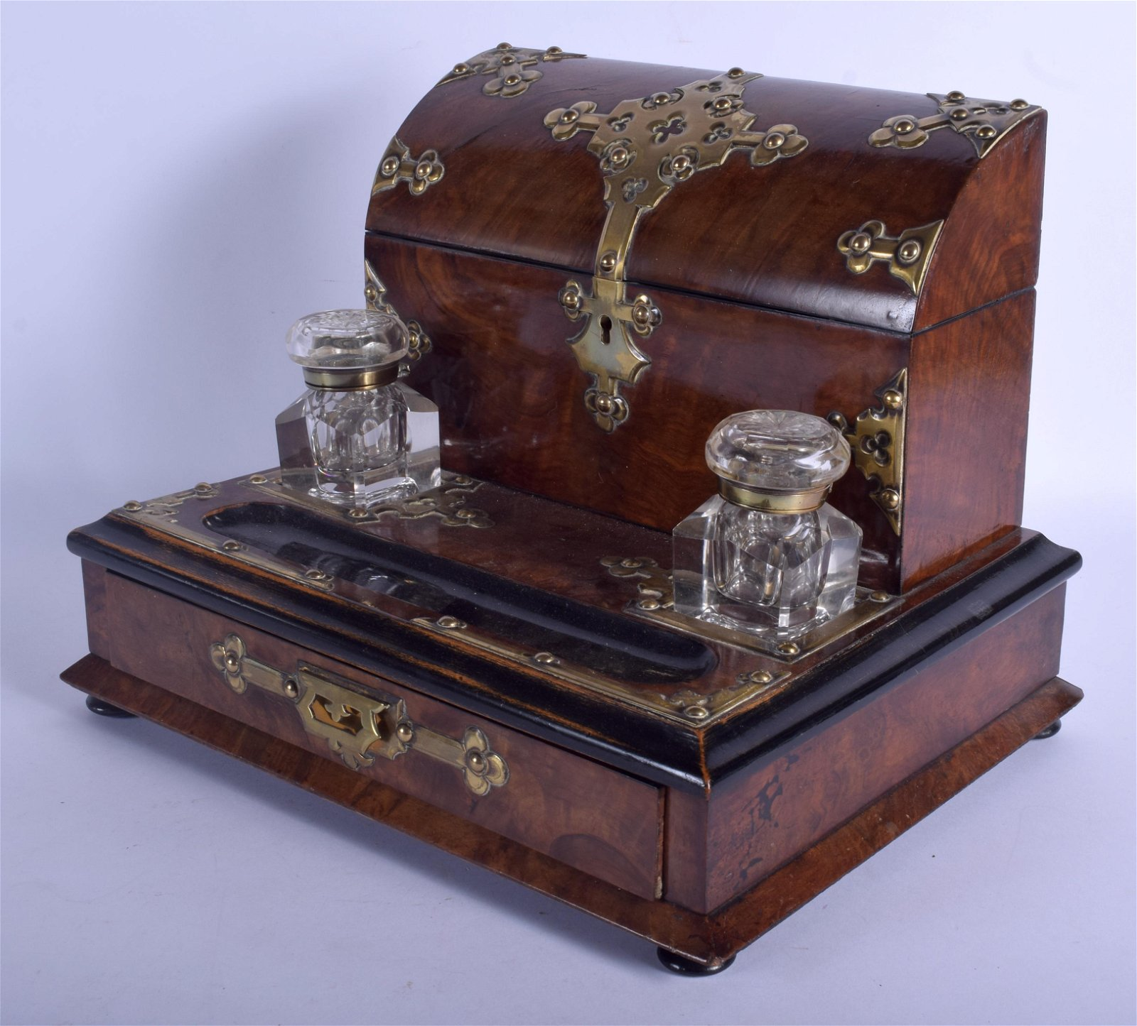 A LATE VICTORIAN BURR WALNUT BRASS BOUND INKWELL in the