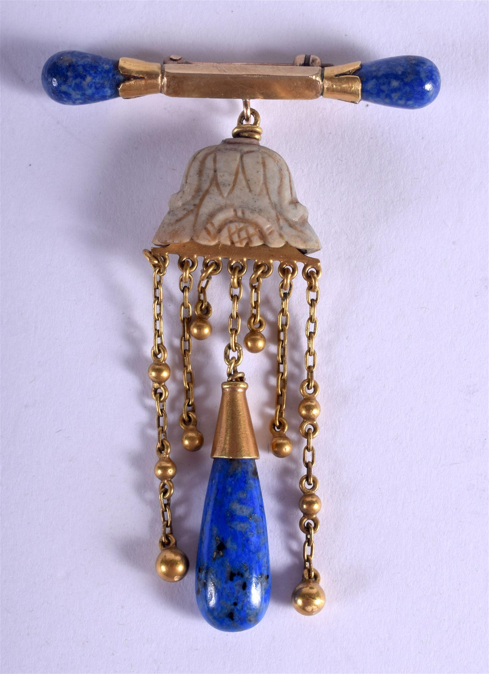 AN UNUSUAL 19TH CENTURY CHINESE JADE GOLD AND LAPIS