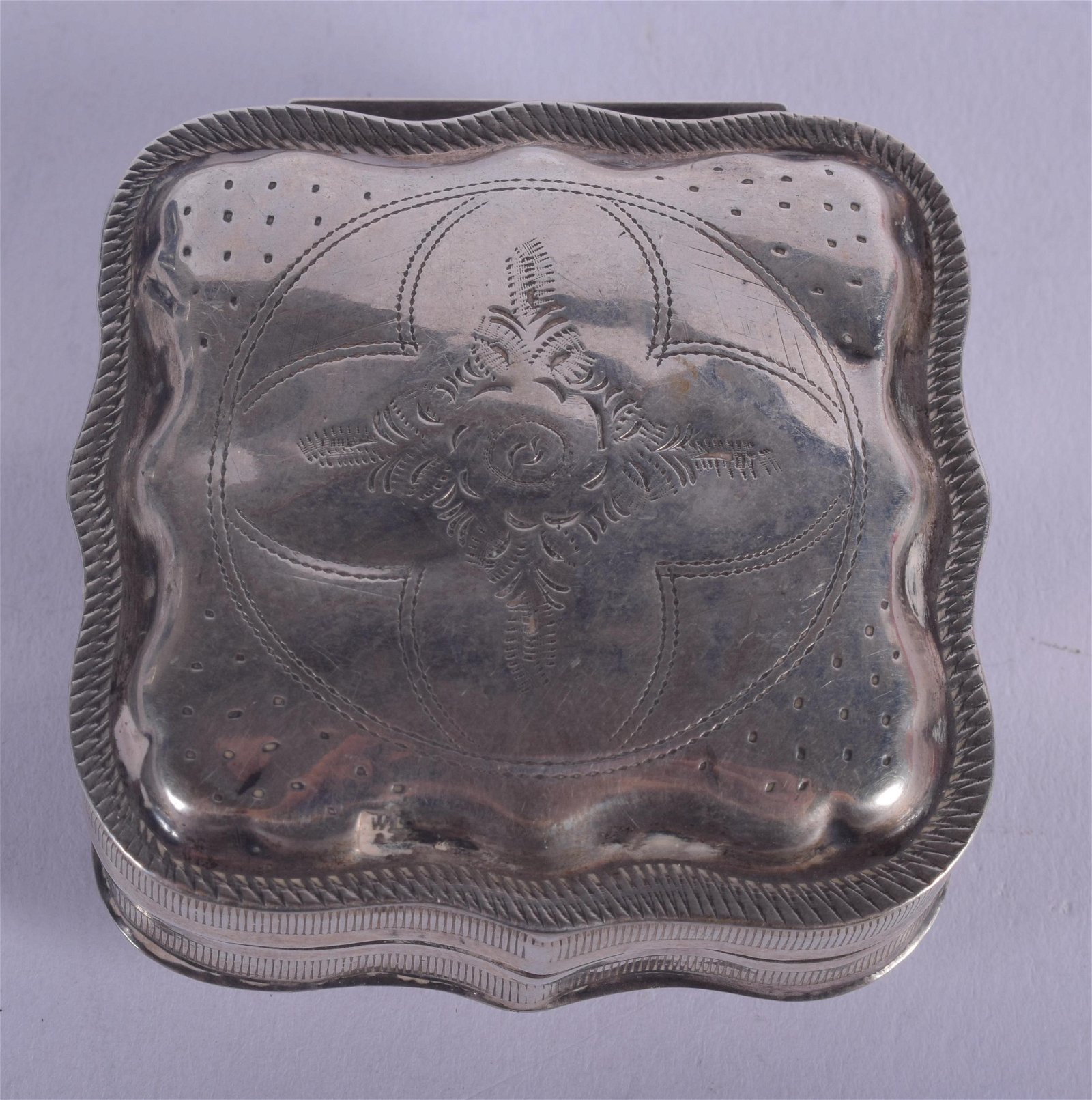 AN ANTIQUE DUTCH SILVER BOX. 1 oz. 5 cm square.