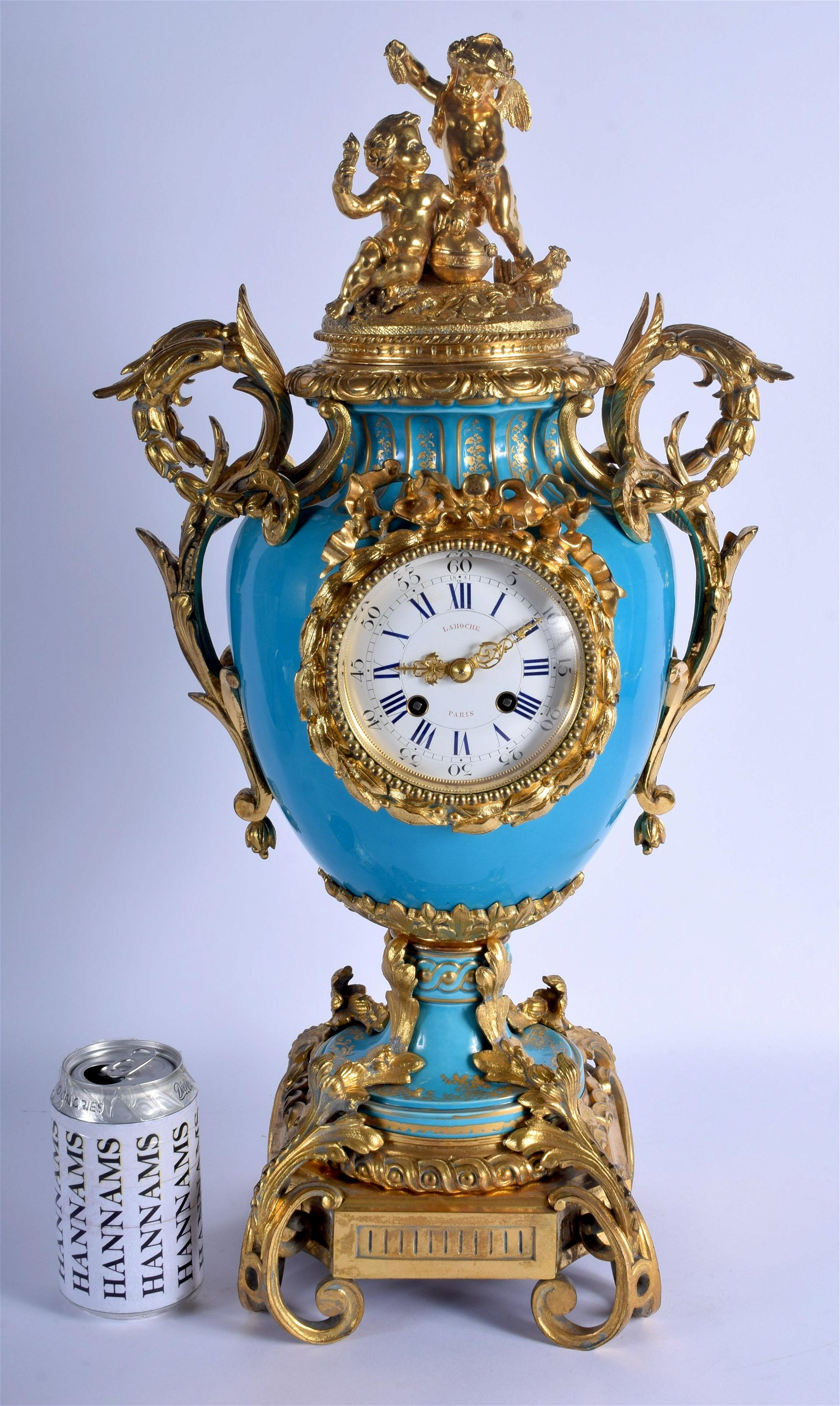 A LARGE 19TH CENTURY FRENCH ORMOLU AND BLUE SEVRES
