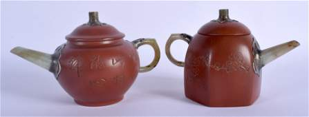 TWO EARLY 20TH CENTURY CHINESE YIXING POTTERY TEAPOTS