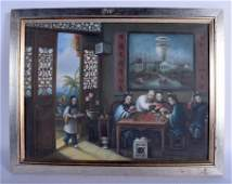 Chinese School 19th Century Oil on canvas cards