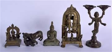 FIVE 19TH CENTURY INDIAN HINDU BRONZE FIGURES including