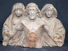 Early Northern European wooden statue of three figures