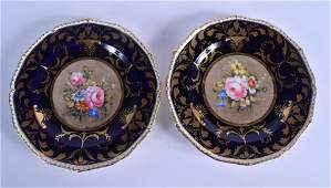 Late 19th c. Derby King Street pair of plates painted