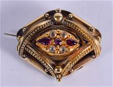 A FINE VICTORIAN 15CT GOLD DIAMOND AND AMETHYST