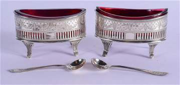 A PAIR OF VICTORIAN SILVER SALTS. Sheffield 1878& 1889.