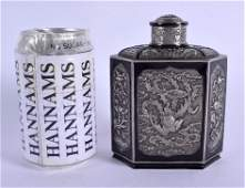A RARE 19TH CENTURY CHINESE EXPORT SILVER TEA CADDY