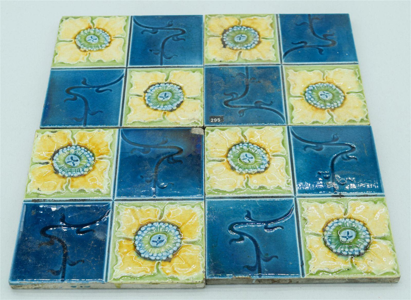 Four Victorian Majolica Tiles 15 x 15 cm (4).