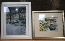 A Watercolour by M Hickering of Coverack and another