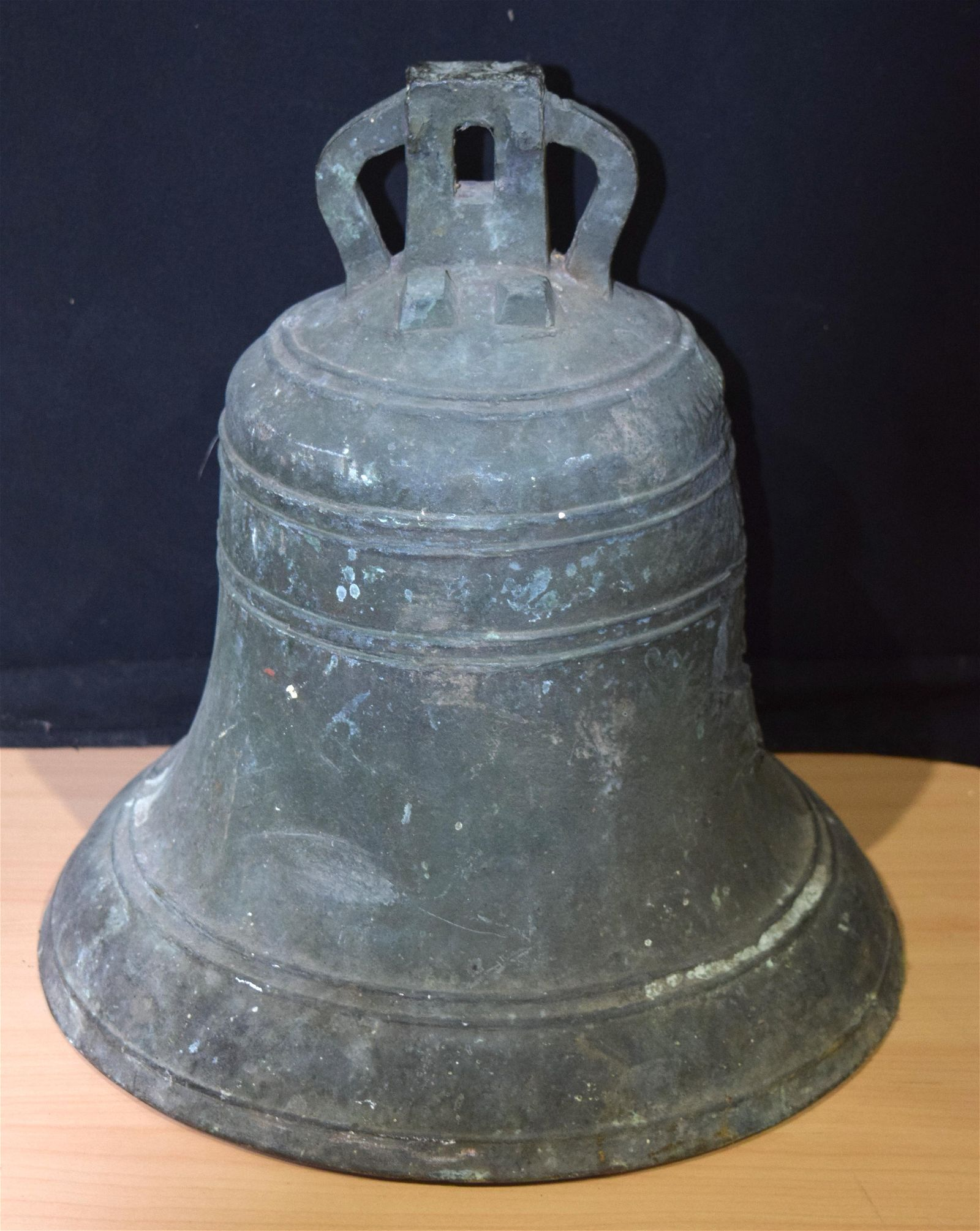 A large Bronze bell dated 1854  40 x 37 cm.