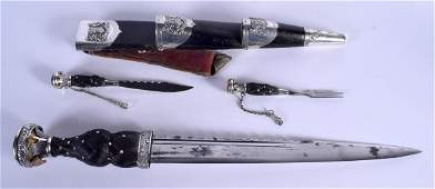 A FINE LARGE SCOTTISH ANTIQUE WHITE METAL MOUNTED DIRK