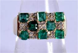 A 14CT GOLD DIAMOND AND EMERALD RING. O/P. 6 grams.