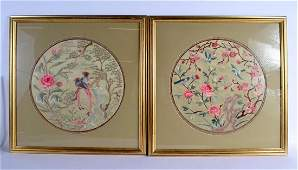 A PAIR OF EARLY 20TH CENTURY CHINESE SILK WORK