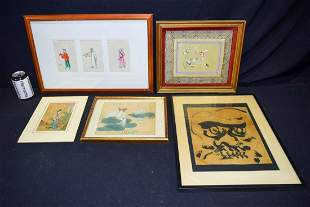A Framed set of Chinese Pith paper paintings together