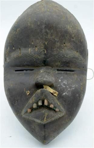 AFRICAN TRIBAL DAN MASK, IVORY COAST / LIBERIA.  33cm x