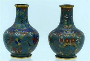 A PAIR OF 19TH CENTURY CHINESE CLOISONNE ENAMEL VASES