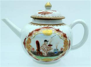 A RARE 18TH CENTURY CHINESE EXPORT TEAPOT AND COVER