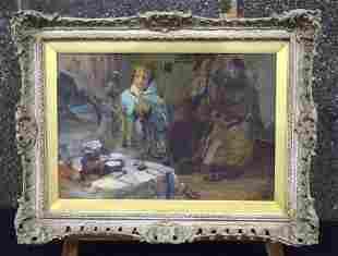 Russian School (C1920) Oil on card, Figures beside a