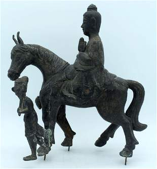 A CHINESE KOREAN QING DYNASTY CAST IRON FIGURE OF A